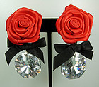Couture Earrings: Crystal Drops, Red Silk Flowers, Bows