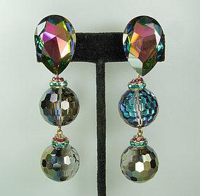 Statement Earrings Huge Watermelon Vitrail Stones Beads