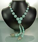 Rousselet Aqua Glass, Strass Necklace Earrings: France