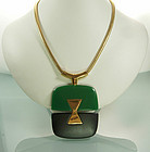 Lanvin Paris Green Black Snake Chain Pendant Necklace