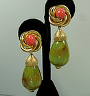 1970s Alice Caviness Bakelite Glass Coral Drop Earrings