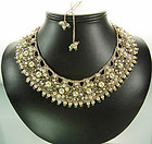French Lina Baretti Style Faux Pearls Strass Necklace