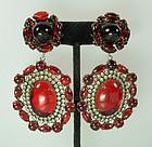 Fabulous 60s Kenneth Lane Red Lucite, Strass Earrings