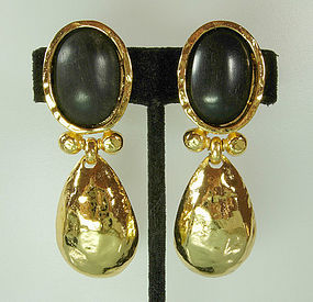 Edouard Rambaud Paris Byzantine Goldtone/Wood Earrings
