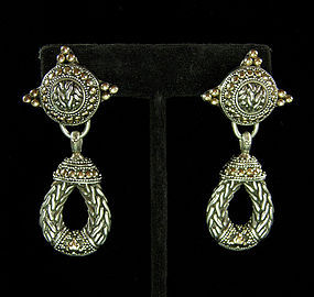John Hardy Sterling Balinese Granulated Design Earrings