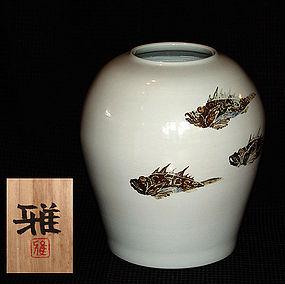 Large White Porcelain Tsubo by Uchida Tadashi