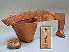 Wakimoto Hiroyuki Modern Japanese Bizen Sculptural Vase