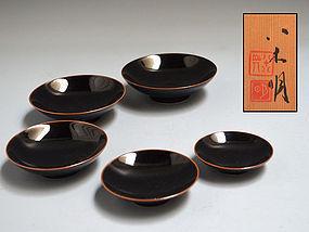 5 Contemporary Ceramic Nesting Cups by Yagi Akira