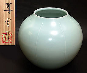 Modern Celadon Pottery Vase by Fukami Sueharu
