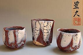 Set of 3 Large Nezumi Shino Guinomi Sake Cups, Toyohisa