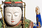 Wooden Edo buddhist statue 8 arms Benzaiten - very old