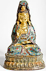 Bronze Guan Yin with firstclass Cloisonné and 24k gold