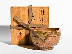 Japanese Shigaraki Tea Bowl by great Rakusai Takahashi