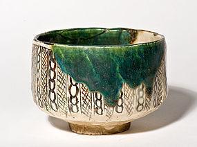 Edo Period Green Glaze Oribe Chawan