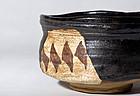 Edo Kuro Oribe Kutsu Chawan with box