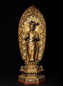 Edo Kannon Bosatsu Guanyin wooden Buddha Statue