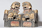 Pair of Qing period Chinese wood carved Foo Dogs