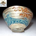 Samurai Tea Bowl with silver glaze Meiji Period