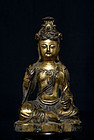 Chinese Antique Qing Bronze Buddha Marked 19th cent.