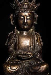 Chinese Crowned Bronze Buddha from Ming Dynasty