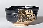 Momoyama/early Edo Period Black Kutsu Gata Oribe Chawan