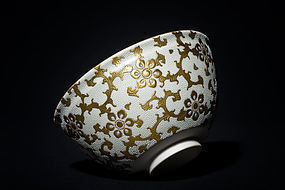 Shiro-Chibu Kutani Tea Bowl by great Kingyoku Nakata with gold design