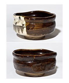 Early Edo Period Kutsugata Oribe Chawan with rare brownish glaze