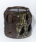 Large 3,3 kg Japanese Iga Ware Mizusashi - Late Edo Period