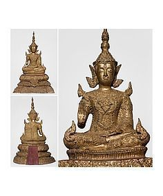 Large Siam - Thai Gilt Bronze Buddha 53 cm and 10 kg