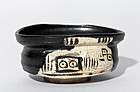 Japanese Elegant Black (Kuro) Oribe Chawan from Early Edo Period