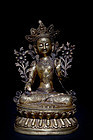 Large Chinese Qing Dynasty Gilt Bronze Buddha 9kg marked
