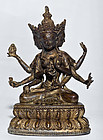 Chinese 18th cent Bronze Guanyin Buddha with 3 faces and 8 arms