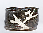 Grey Shino Oribe Chawan of late Momoyama / early Edo Period