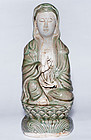 Large Qing Period Porcelain Guanyin Buddha Statue