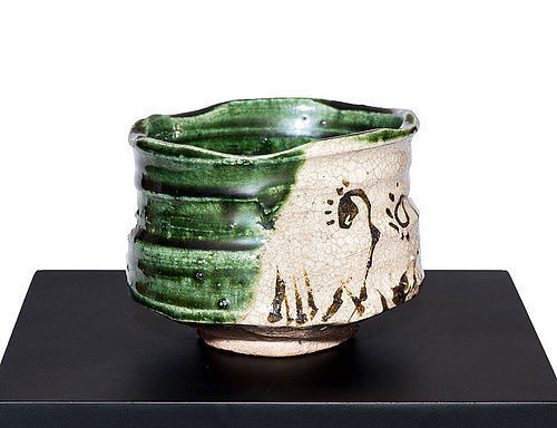 Ao-Oribe Chawan of early Edo Period