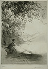 "Paul Herrmann, etching, ""On the Lake"""
