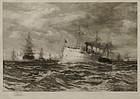 """Thomas Moran, etching, """"The White Squadron,"""" 1891"""