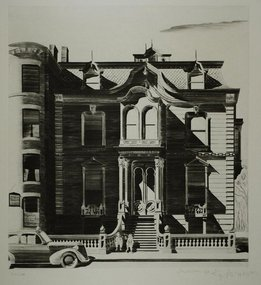"Lawrence Kupferman, etching, ""Victorian Mansion"""