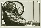 "Sigmund Abeles, wood engraving, ""Philosophy Student"""