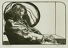 "Sigmund Abeles, wood engraving, ""Philosophy Student"""