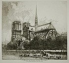 Louis Orr, etching, L'Abside de Notre Dame de Paris