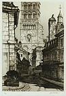 """Samuel Chamberlain, etching, """"La Charite-sur-Loire"""""""