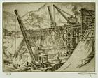 """Otto Kuhler, etching, """"The Thomas W. Koon Dam"""""""