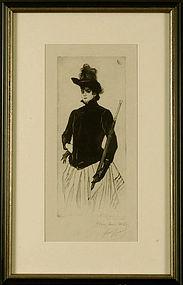 """Louis Legrand, etching, """"La Femme au Parapluie"""""""