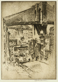 """Joseph Pennell, etching, """"The Bridges, from Brooklyn"""""""