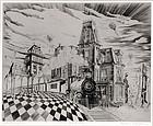 """Lawrence Kupferman, etching, """"Fantasia America - 1880"""""""