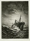 "Otto Kuhler, etching, ""Heavy Weather"""