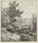 "Bolton Brown, lithograph, ""By the Creek"""