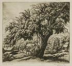 "Isaac Friedlander, etching, ""Over the Village"""