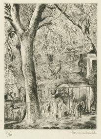 "Hermine David, etching, ""Le Zoo de Vincennes"""